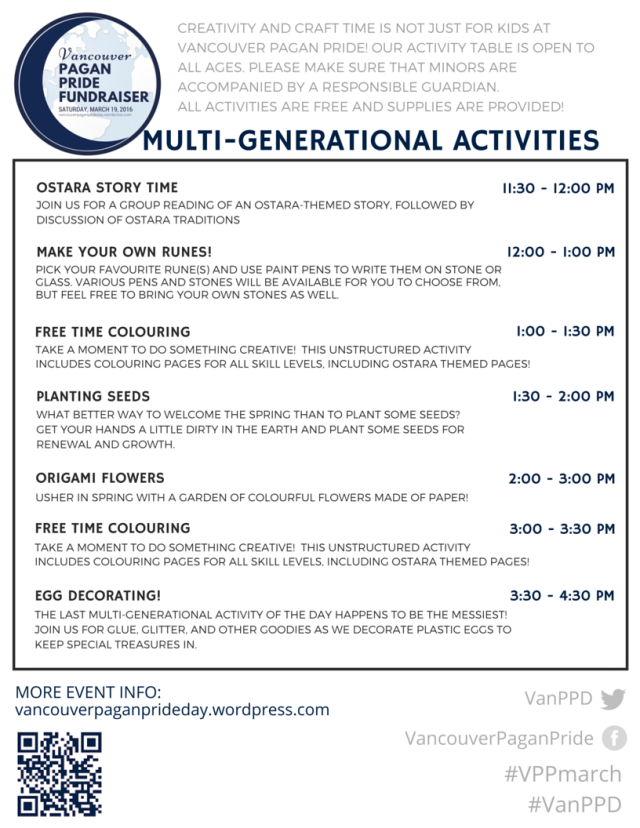 schedule of Multi-generational Activities - VPPmarch